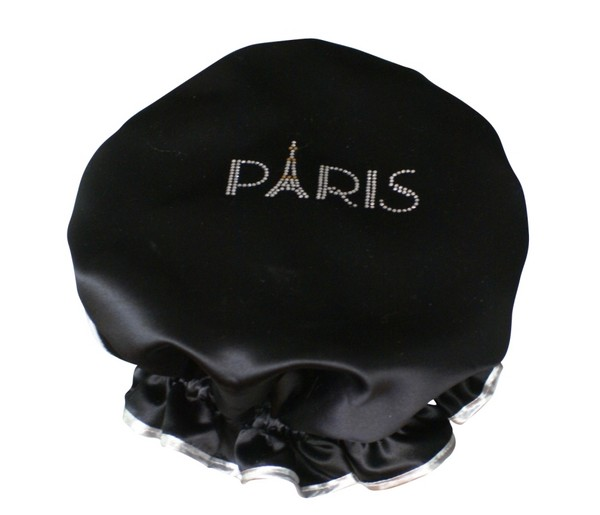 diamante shower cap paris black. Black Bedroom Furniture Sets. Home Design Ideas