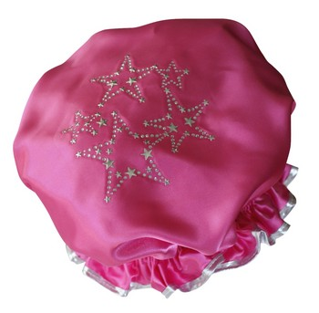 Diamante Shower Cap - STARS - Hot Pink