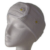 Microfibre Head Band - White Daisy w/Yellow