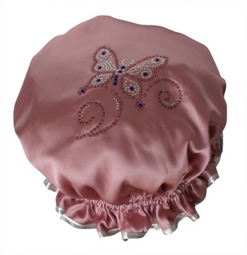 Diamante Shower Cap - BUTTERFLY - Rose