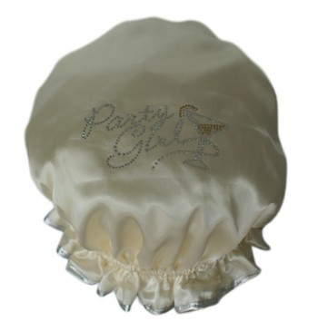 Diamante Shower Cap - PARTY GIRL- Ivory
