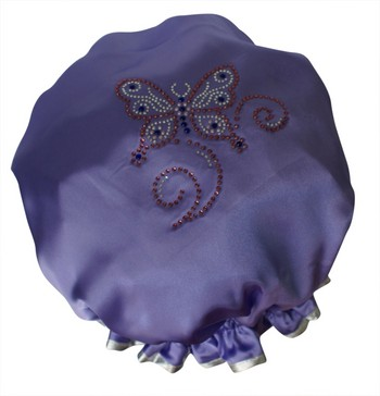 Diamante Shower Cap - BUTTERFLY - Lilac