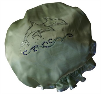 Diamante Shower Cap - DOLPHINS (Girls)  - Lime