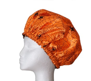Mens Shower Cap - Spiderweb Orange