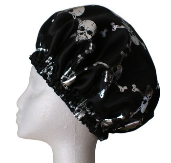 Mens Shower Cap - Silver Skull and Crossbones