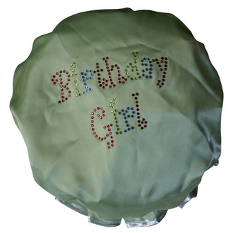 Diamante Shower Cap - BIRTHDAY GIRL - Lime