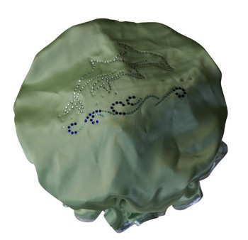 Diamante Shower Cap - DOLPHINS - Lime