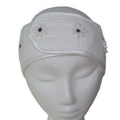 Microfibre Head Band - White Daisy w/Black